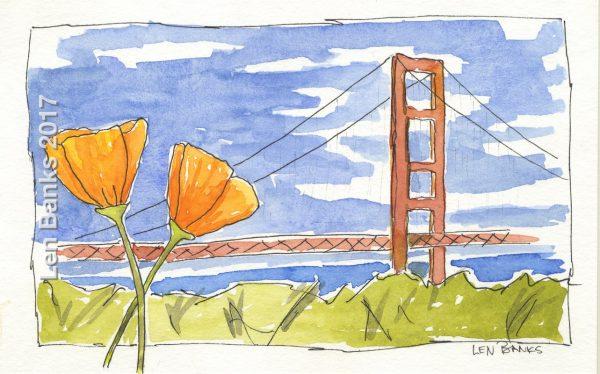 Bridge and Poppies